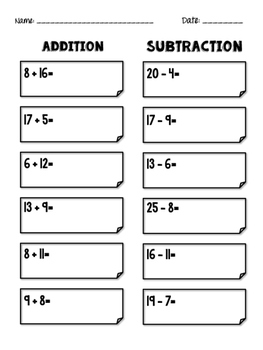 Addition & Subtraction! with/without missing numbers
