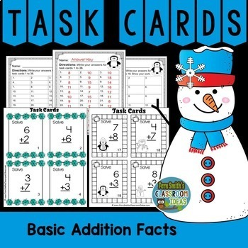 Winter Math Addition Task Cards