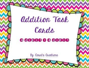 Addition Task Cards 4 Digit + 4 Digit