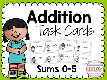 Addition Task Cards - Sums 0-5