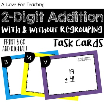 2 Digit Addition With and Without Regrouping {Task Cards}