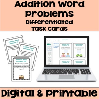 Addition Task Cards: Word Problems (3 Levels)