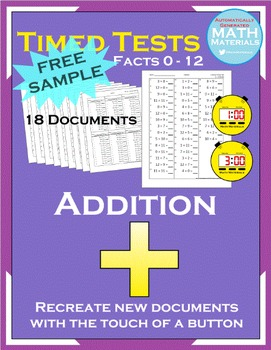 Addition Math Facts Timed Test (FREE SAMPLE) - Automatic G