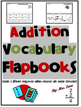 Addition Vocabulary Flapbooks