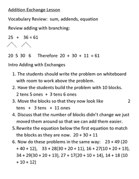 Addition With Exchanges Mini Lesson