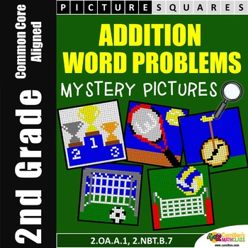 Addition Mystery Pictures (One Step Word Problems) 2nd Gra