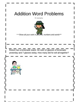 Addition Word Problems Booklet  **no regrouping