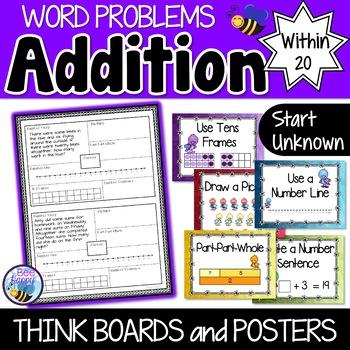 Addition Word Problems - Start Unknown - Think Boards - Su