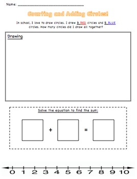 Addition Worksheet. Counting and Adding Circles!