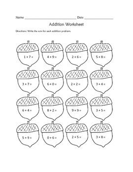 Addition Worksheet : Fall Theme FREE
