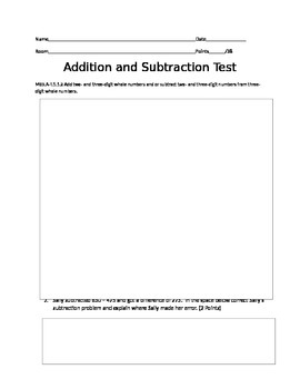 Addition and SUbtraction Test - DOK LEVELS