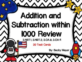 Addition and Subraction to 1000 Task Cards