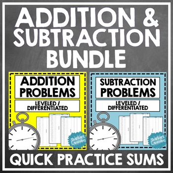 Addition and Subtaction Quick Number Facts Problems BUNDLE