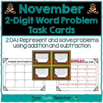 Addition and Subtraction 2-Digit Word Problem Task Cards -