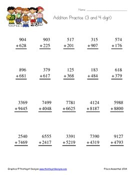 Addition and Subtraction (3-4 digit) Worksheets