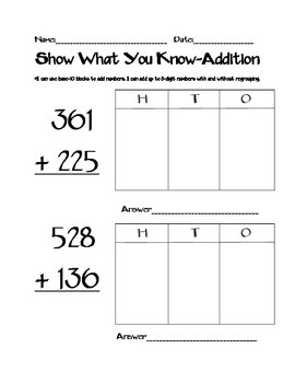 Addition and Subtraction Assessment Bundle