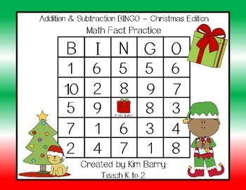 Addition and Subtraction BINGO - Christmas Edition