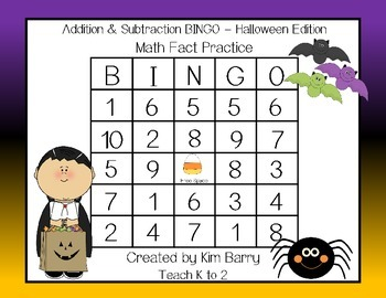 Addition and Subtraction BINGO - Halloween Edition
