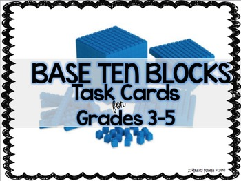 Addition and Subtraction Base Ten Block Task Cards for Upp