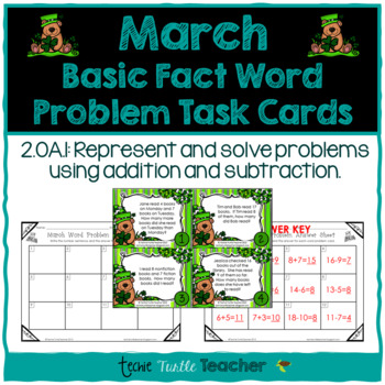 Addition and Subtraction Basic Fact Word Problem Task Card