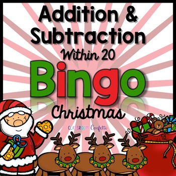 Addition and Subtraction Bingo {Within 20} (Christmas Theme)