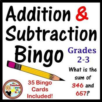 Addition and Subtraction Bingo w/ 35 Bingo Cards!  Grades 2-3