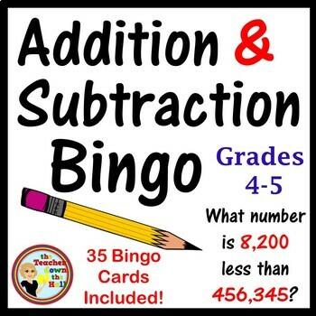 Addition and Subtraction Bingo - Classroom Activity w/ 35