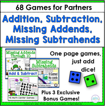 Addition, Subtraction, and Missing Addend Games for First