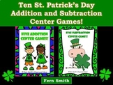St. Patrick's Day Addition and Subtraction Math Center Gam