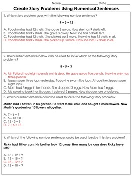 Addition and Subtraction: Create Story Problems Practice S