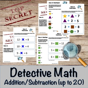 Addition and Subtraction Detective Math- math facts up to 20