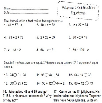 Addition and Subtraction Equations- Finding a Missing Number