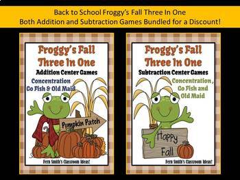 Fall with Froggy Center Games for Subtraction and Addition