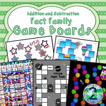 Addition and Subtraction Fact Family Board Games (SET 1)