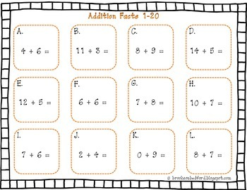 Addition and Subtraction Facts up to 20