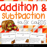 Addition and Subtraction Fall Word Problems Task Cards