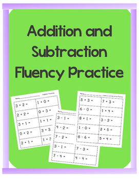 Addition and Subtraction Fluency Practice