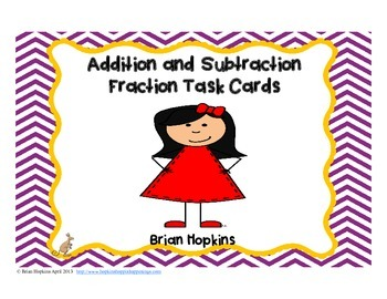 Addition and Subtraction Fraction Problem Solving Task Cards
