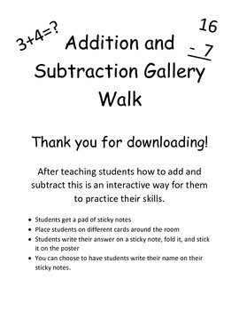 Addition and Subtraction Gallery Walk