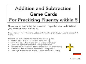 Addition and Subtraction Game Cards