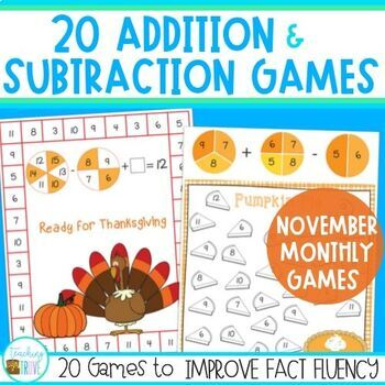 Addition and Subtraction Fact Fluency for November