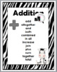 Zebra Theme Addition and Subtraction Chart - Math Key Word