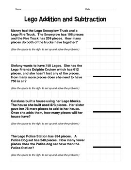 Addition and Subtraction Lego Word Problems