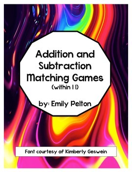 Addition and Subtraction Matching Games (Pictures to Equat