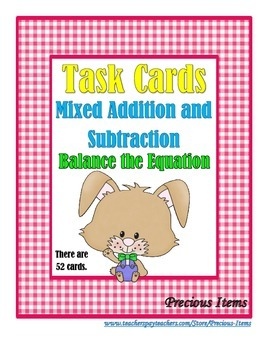 Addition and Subtraction Mixed Problems:  Balance the Equa