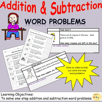 Addition and Subtraction One-Step Word Problems, Worksheet