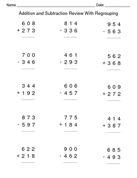 Addition Subtraction Worksheets Regrouping - addition subtraction ...