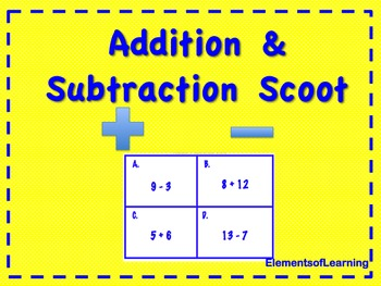 Addition and Subtraction Scoot Game/Task Cards