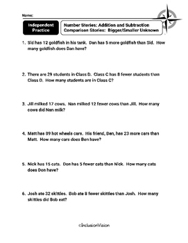 Addition and Subtraction Story Problems Patterns Worksheets