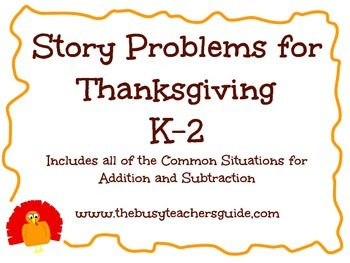Addition and Subtraction Story Problems for Thanksgiving